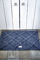 BATH MAT CHECK GREY 80X50