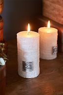 RM LINEN CANDLE OFF WHITE 13X7
