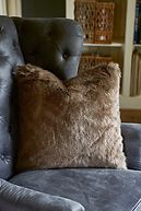 POLAR GREY FAUX FUR PILLOW COVER 50X50