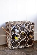 RUSTIC RATTAN WINE BOTTLE RACK